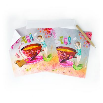 CARTE ET MICROFIBRE ILLUSTREE TEA TIME